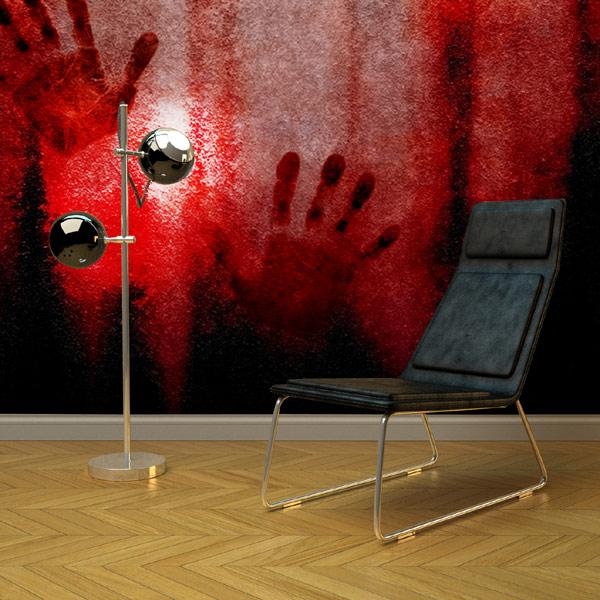Krew na ścianach - pomysł na wystrój pokoju miłośnika horrorów.