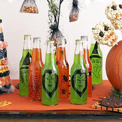 dekoracje na halloween butelki
