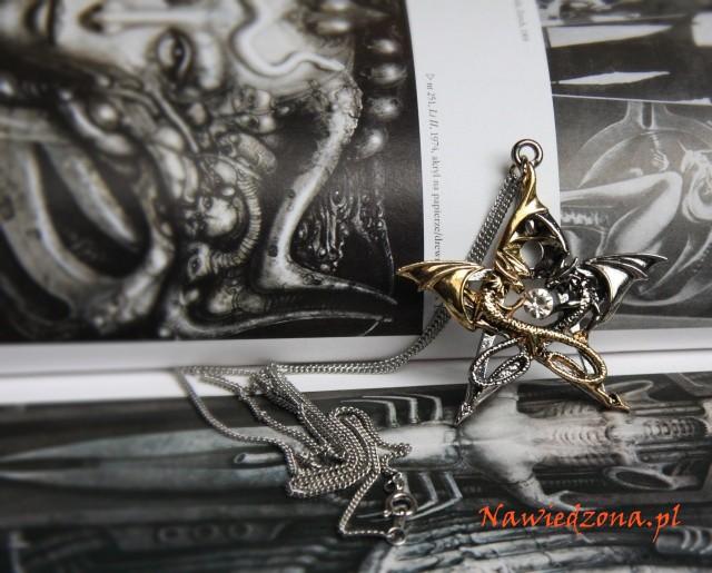 gotycka biżuteria pentagram i smoki - naszyjnik z pentagramem, smoczy amulet