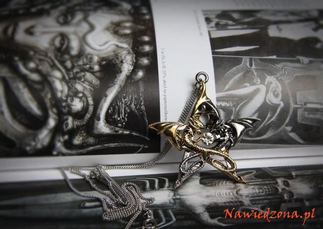 gotycki naszyjnik ze smokiem - gotyckie, magiczne wisiory ze smokami