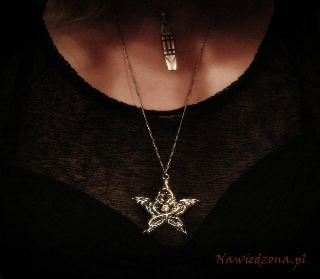 gotycka biżuteria wisiorek ze smokiem - naszyjnik z pentagramem