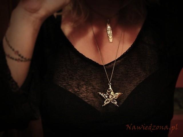 gotycka biżuteria - wisiorek z pentagramem, smoczy amulet, naszyjnik ze smokami