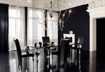 pokój w stylu gotyckim - styl new gothic, wnętrza w czarnym kolorze