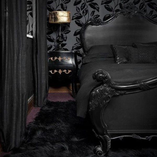 czarna sypialnia w gotyckim stylu - czarne ściany i czarne dodatki do pokoju, new gothic