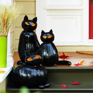 lampiony z dyni czarne koty