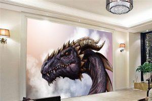 tapeta na ścianę ze smokiem - smoczy pokój