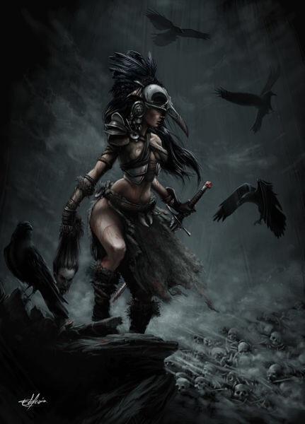 bogini Morrigan i czarne kruki